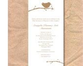 Printable Baptismal/Christening Invitation: Bird & Branch