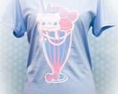 Sugar Pop Sweet Cream Sundae Kitty Cat Graphic T Shirt Kawaii Fairy Kei Pastel Goth