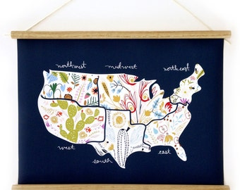 Floral America Canvas Map