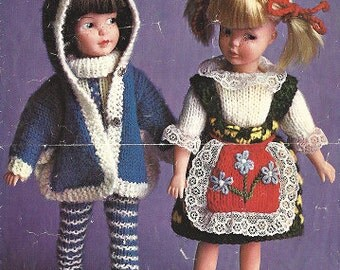 "Dolls Clothes to fit 9"" Doll - 3 and 4 ply wool - Patons 9713 Vintage Knitting Pattern pdf  , Sindie Barbie Patch dolls"