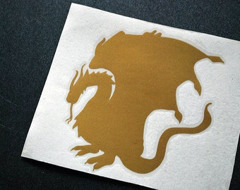 Golden dragon vinyl decal - king arthur pendragon merlin emblem sticker - GoT Lord of the rings LOTR laptop car wall window