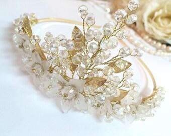 Wedding crown, bridal crown, crystal crown for bride, flower crown bridal, gold crown for wedding, floral crown wedding, crown headband