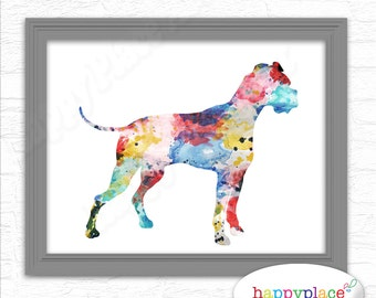 Watercolour Boxer Dog Poster as digital file. Printable dog art Cropped ears or Natural ears. Boxer dog silhouette Wall art. Dog breed print