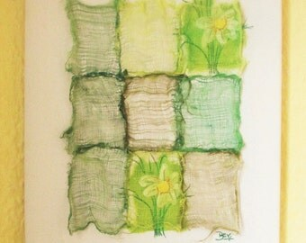 Spring Florals. Patchwork. Mixed media art, on canvas.