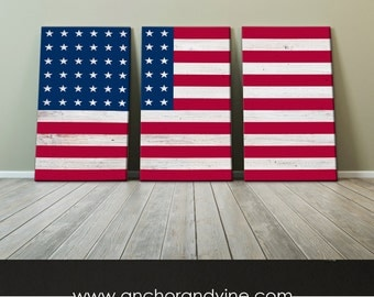 CANVAS // USA Flag //  Oversized Canvas, Large Wall Art, Home Decor, Modern Art, Decoration, Stripes, American Flag, America, USA Flag