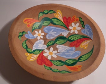 Hand-painted Wood Bowl