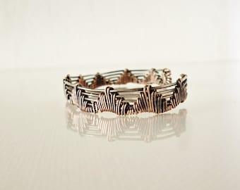 Bracelet cuff - wire wrapped cuff bracelet - handmade wire jewelry