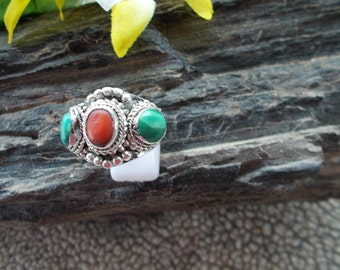 Sterling Silver Turquoise Coral Band Ring Size 10