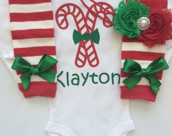 Baby Girl Christmas outfit-  Preemie Newborn and 3 months- newborn leg warmers - Personalized christmas outfit - preemie christmas outfit