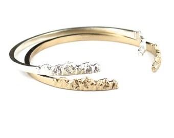 Nature Bracelet Gold Cuff Bracelet Mountain Jewelry Silver Cuff Bracelet Travel Bracelet Mountain Bracelet
