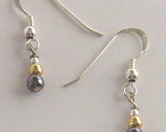 Hematite Earrings with Gold fill Bead, Hematite Earrings with Sterling Silver French Hook, Hematite Earrings with Sterling Silver Ear Wires