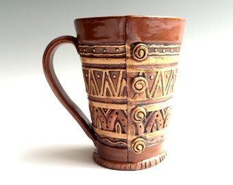 Hand Built Stoneware Button Mug ~ Smoked Sienna, Brown, Tan ~ Coffee, Tea ~ Slab Pottery ~ 12 oz. to 14 oz. ~ Geometric, Triangles, Zig Zag