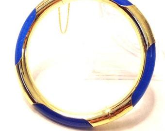 Blue Agate Bangle Bracelet
