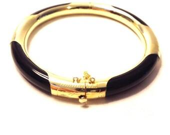 Black Onyx Bracelet, Gold Bracelet, Black and Gold Bracelet, Clasp Bracelet, Onyx Bracelet