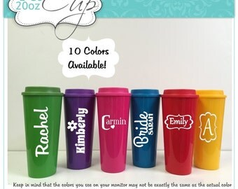 9 Personalized Travel Mugs Bridesmaid Gifts 2 Go 20 oz  in Colors to Match your Wedding