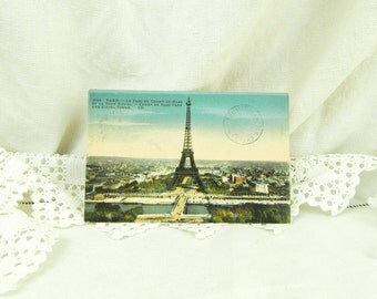 Antique Colored Black and White French Postcard The Eiffel Tower with Postmark From the Top of the Tower Paris / French Decor / Parisian