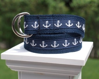 Anchor Belt for Younger Boys / Navy and White Belt / Nautical Belt / Canvas Belt for Boys