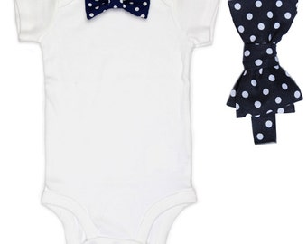 Father Son Bow Tie Sets - Navy Polka Dot - Father's Day