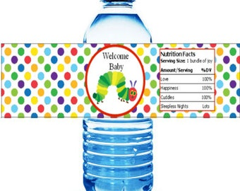 Printable Hungry Caterpillar Baby Shower Water Bottle Labels