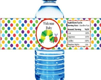 Printable Hungry Caterpillar Baby Shower Water Bottle Labels mms003