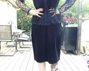 80s Gothic Lace and Velvet Prom Dress