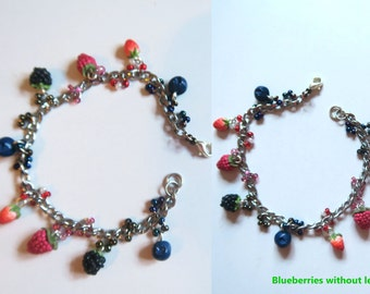 Berry Bracelet - Fruit jewelry - Fruit bracelet - Miniature Food Jewelry