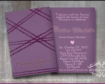 Purple Sweet 16/ quincenera Invitation