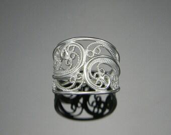 Russian Filigree Ring, Handmade Filigree, Cigar Band Ring, Statement Ring, Filigree Ring, Sterling Silver Ring, Silver Filigree