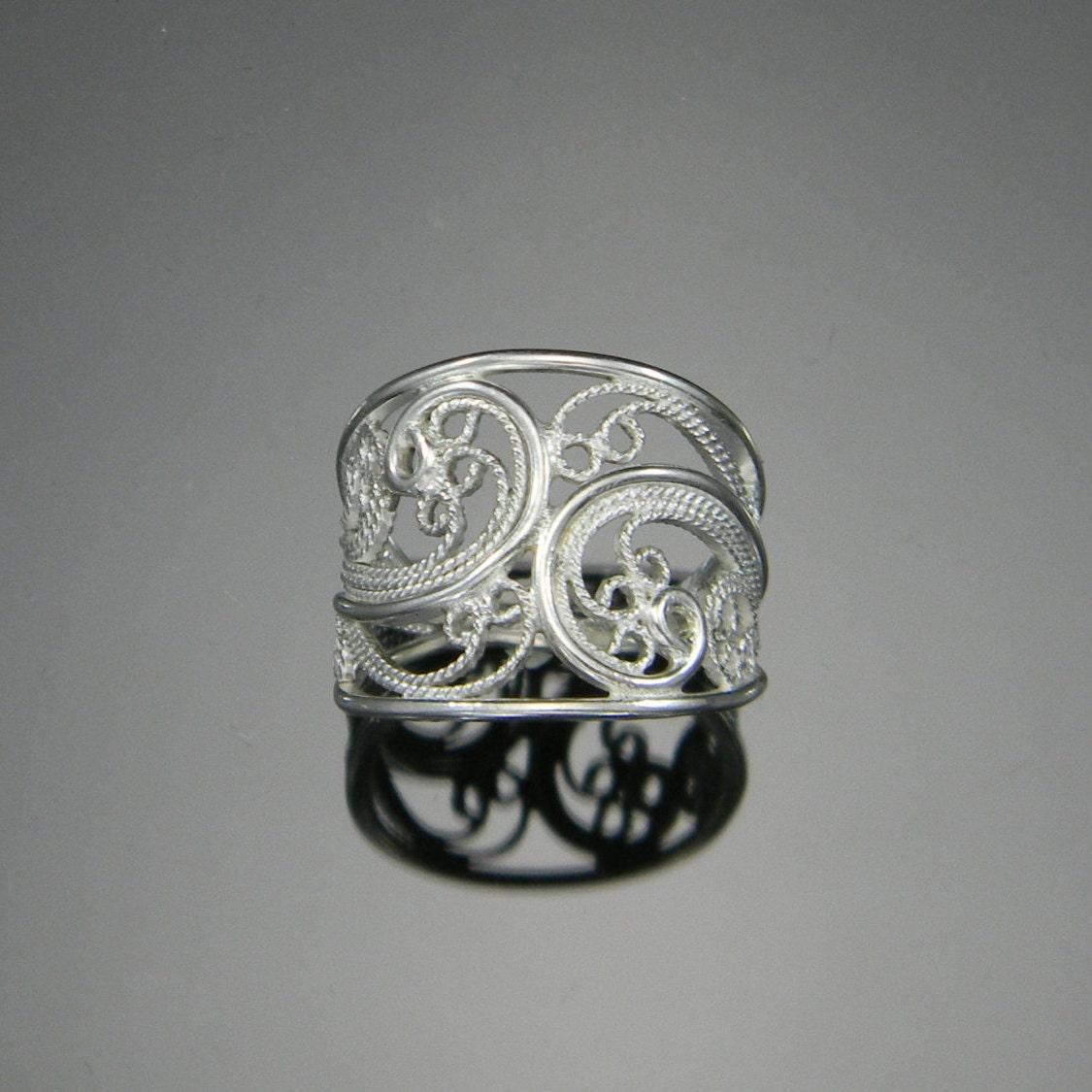 Filigree Ring Bands: Russian Filigree Ring Handmade Filigree Cigar Band Ring