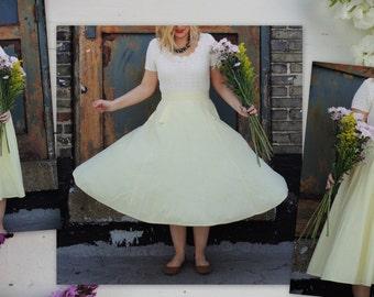 Pale Yellow Circle Skirt/Full Skirt/Retro Skirt/Yellow Swing Skirt/Chic Skirt/High Waist Skirt/1950s Skirt/Bright Color Skirt/Pin Up Skirt/
