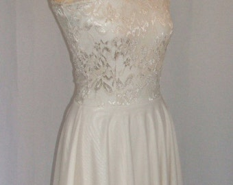 Baylis & Knight Cream Cafe Latte LACE One Shoulder Ballerina Skater Circle Dress Bridesmaid Wedding Formal Pretty Gown Prom