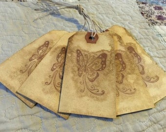 5 Handmade gift tag set, grungy coffee stained, butterfly