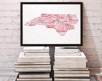 CUSTOM COLOR State of North Carolina Typography Print; Christmas Gift; Wall Art and Decor; Wedding Anniversary Graduation Gift