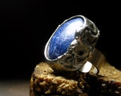 Blue Lapis Lazuli ring by AMW • Adjustable STERLING SILVER band ring • Select Your Size