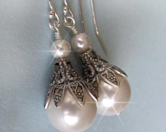Set of 4 Earrings, Bridesmaid Earrings Set, Pearl Earring Set, Vintage Style Pearl Drop Set, Bridal Party, Bridesmaid Gift, Wedding Earrings