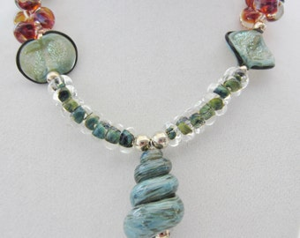 Shell Lampwork Necklace, Teal, Lampwork, Shell, Necklace