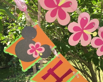 Minnie Mouse Luau Themed Birthday Banner