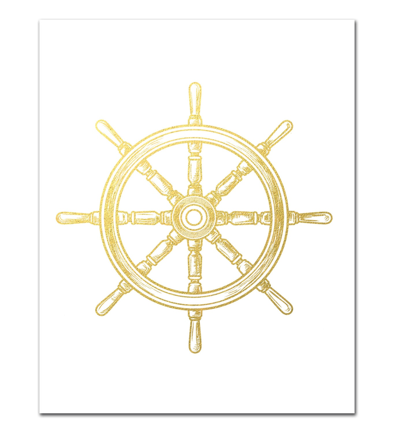 Ship wheel print nautical gold foil print boat wheel print zoom amipublicfo Images