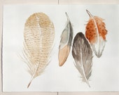Feathers paintings Original watercolor illustration/ Painted feathers in gray, ocher and taupe/ Four fantasy feathers 11,5 by 15
