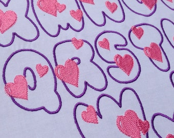 Machine Embroidery Balloon Heart Font - over 200 designs