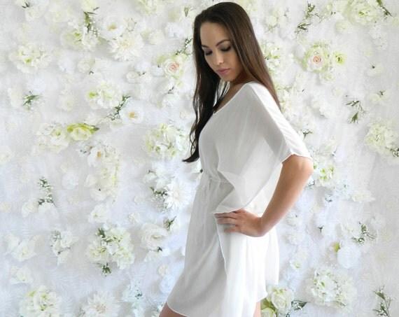 Ivory White Crinkle Chiffon Caftan / Sheer Dress / Women's Tunic / Kimono Sleeve / Sale