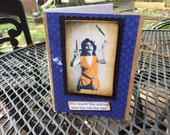 Blank greeting card, handmade, envelope included, circus theme, kraft paper, dark blue and black, juggler, female performer, hand colored