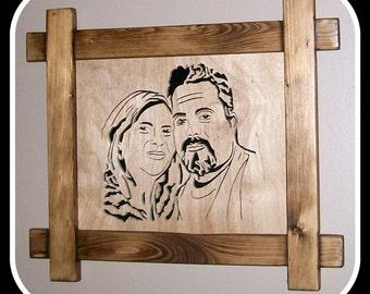 Scroll Saw Portrait, Wood Portrait, Couples Portrait, Portrait by Scroll Saw