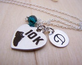10k Running Charm Swarovski Birthstone Initial Personalized Sterling Silver Necklace / Gift for Her - Runner Necklace