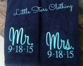 Mr. & Mrs. Beach Towel SET- Perfect Wedding Gift -Available in 12 colors-Bridal Shower Gift, Honeymoon Gift, Wedding Gift, Beach Towel Set