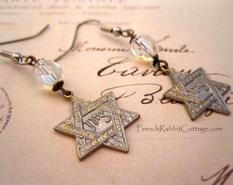 STAR of DAVID EARRINGS. Jewish Jewelry. Judaica Jewelry. Hebrew. Gift for Mom. Grandma Gift. Gold Tone Dangle Earring. Zion. Art Nouveau