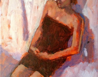 Artists' Model 3.  Original 8x10 acrylic painting on stretched canvas.