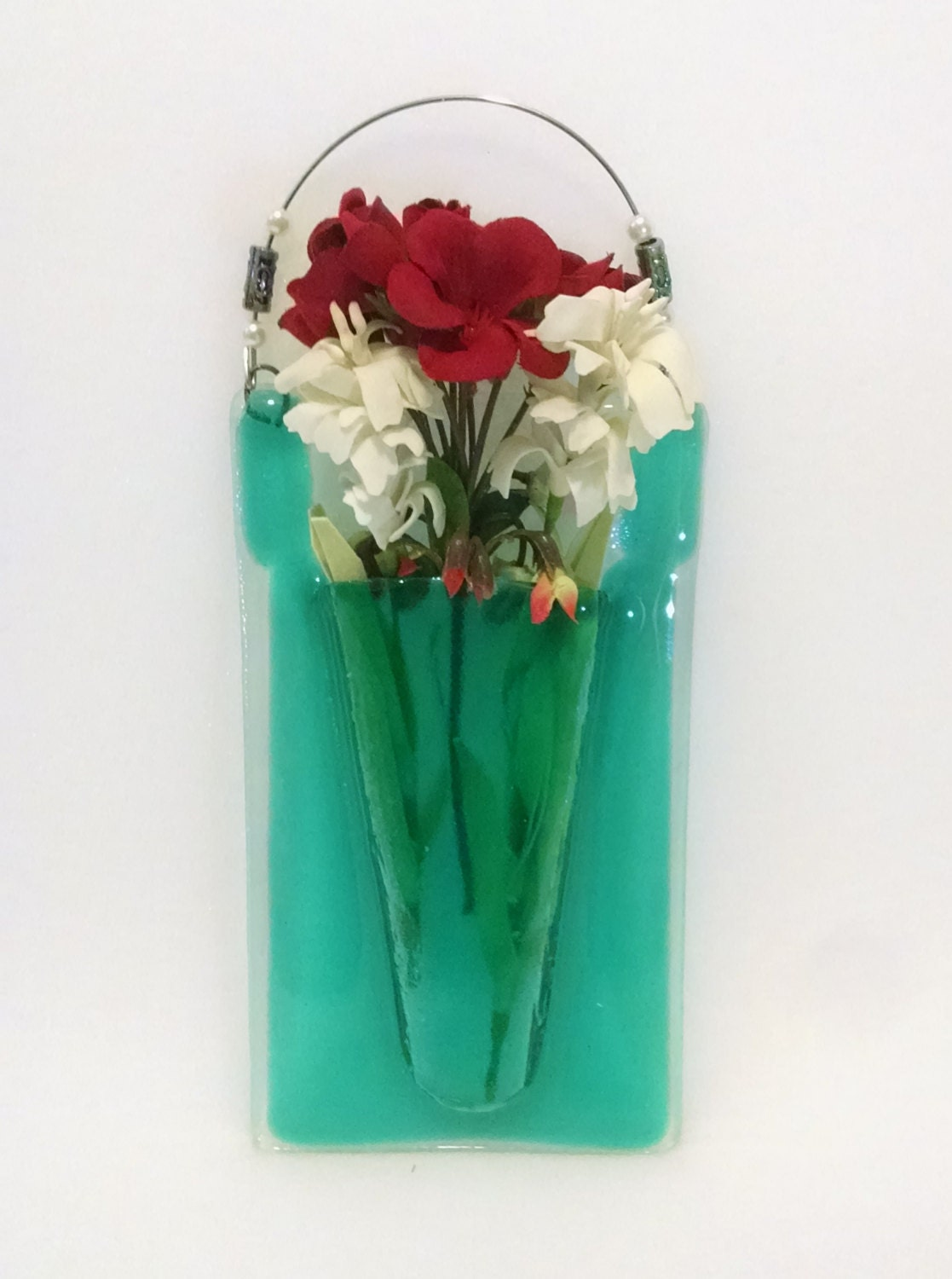 Fused Glass Pocket Vase Wall Vase Turquoise Blue Wall