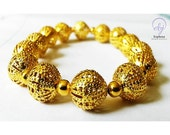 Gifts For Women - Gold Plated Filigree And Small Gold Plated Bead Stretch Bracelet - One of A Kind  Handmade Jewellery