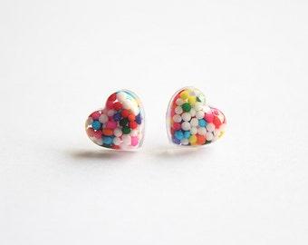 Heart Rainbow Sprinkles Studs